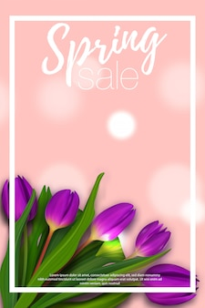 Spring bouquet tulip banner with white frame.