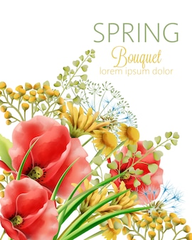 Spring bouquet of watercolor poppy and daisy flowers with green leaves