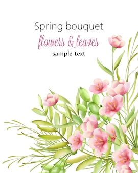 Spring bouquet with small cherry blossom flowers in watercolor style
