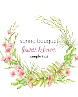 Spring bouquet wreath of cherry blossom flowers with green leaves