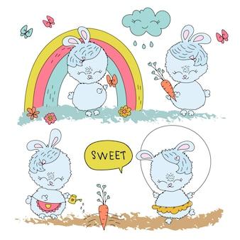 Весенний кролик комикс мультфильм векторные иллюстрации набор