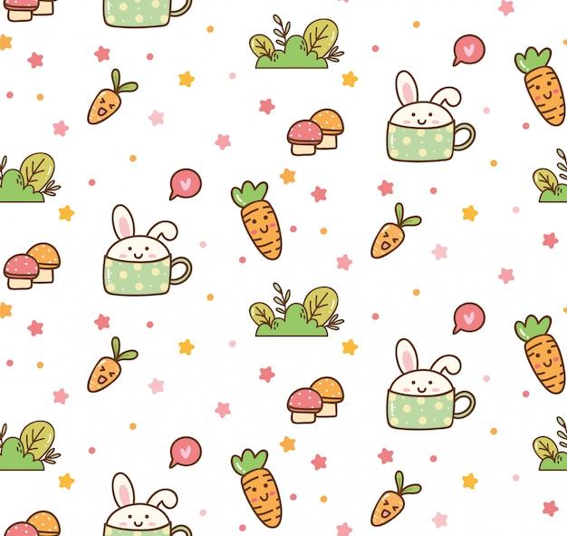 Spring bunny kawaii background