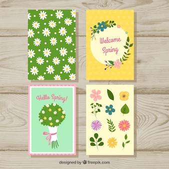 4つの春のカードコレクション