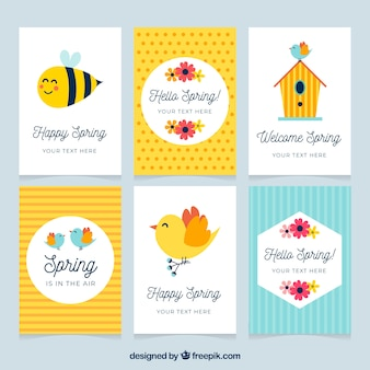 Spring card set of six