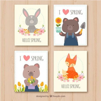Spring cards collection in flat style