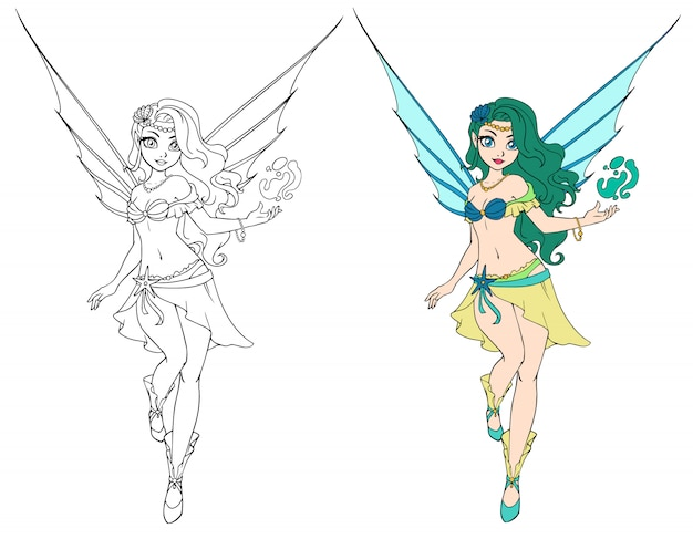 Spring cartoon fairy girl flies. outlined for coloring book isolated on a white background. hand drawn illustration.