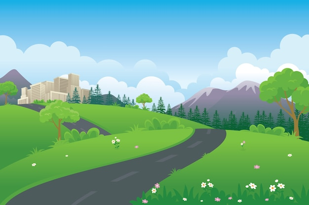 Spring cartoon landscape illustration with green meadow, road, mountain and city building