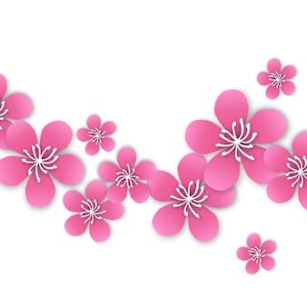 Spring cherry blossom. pink beautiful sakura with papercraft flowers.