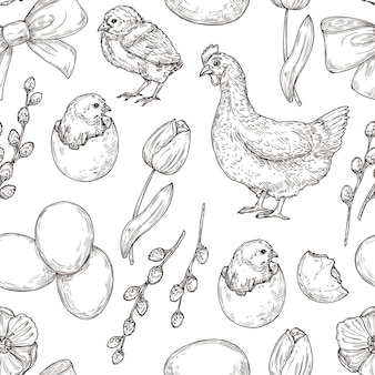 Spring chicken and egg, tulip and easter seamless pattern