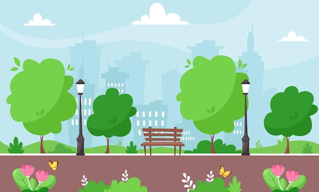 春の都市公園。都市の景観。 。