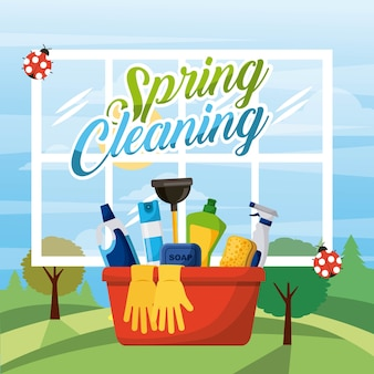 Spring cleaning bucket equipment