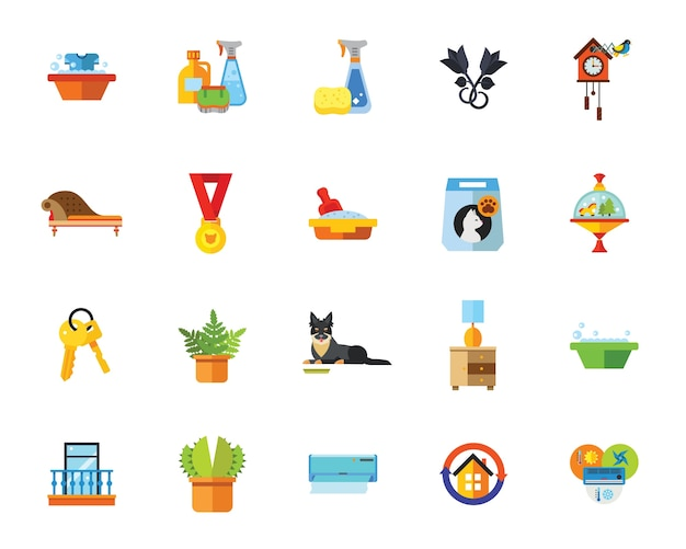 Spring cleaning icon set