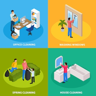 Spring cleaning isometric composition set