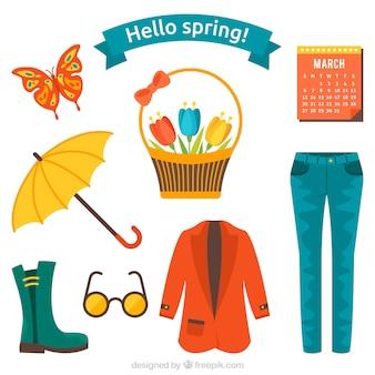 봄 옷과 물건 세트