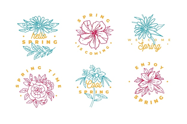 Spring cold coloured flowers badge collection