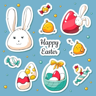 Spring collection of happy easter symbols in cartoon style