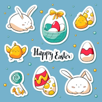 Spring collection of happy easter symbols with lettering