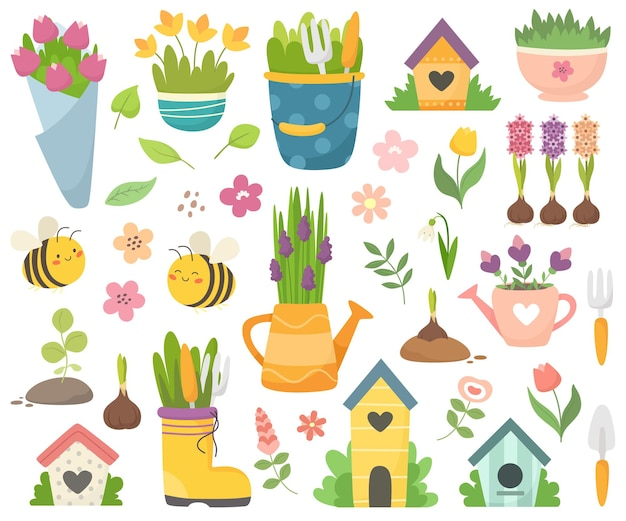 귀여운 꿀벌, 꽃, 물을 캔, 새집이있는 봄 컬렉션. 손으로 그린 평면 만화 요소.