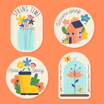 Spring colorful badge collection