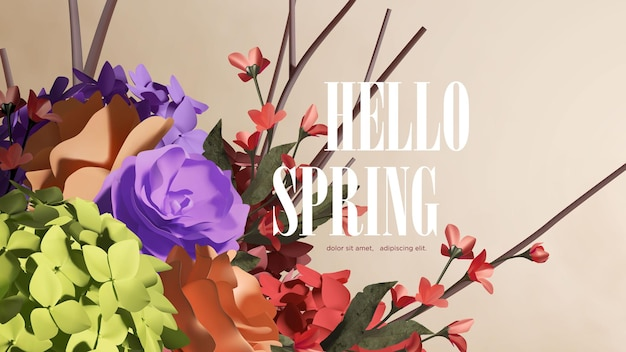 Spring colorful blooming flowers background