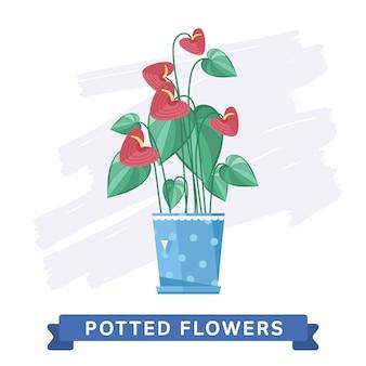 鍋に春のカラフルな花