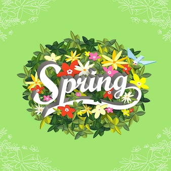 사랑스러운 꽃과 함께 봄 개념 평면 3d 아이소메트릭 infographic