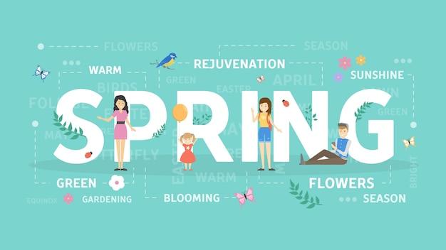 봄 컨셉 일러스트입니다. 새로운 계절과 날씨에 대한 아이디어.
