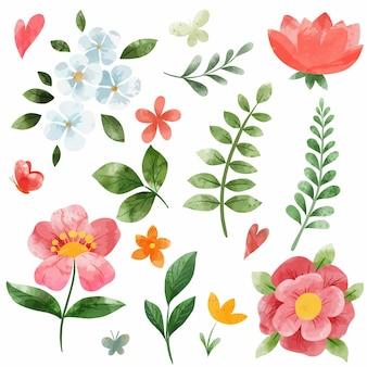 春の珊瑚ピンクの流れがセットになっています。手描きの水彩イラスト。