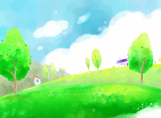 Spring countryside illustration with blue sky and green fields.