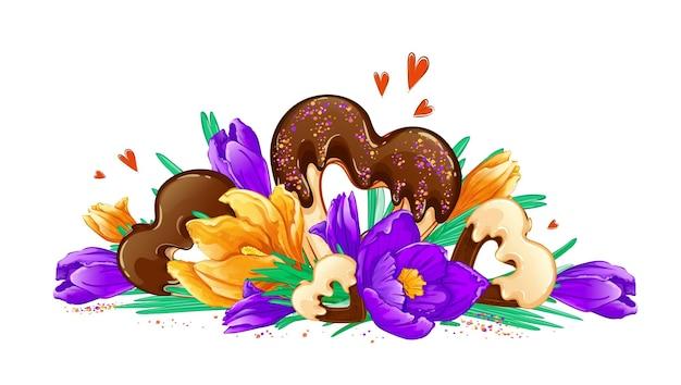 봄 크로커스와 초콜릿 칩 쿠키