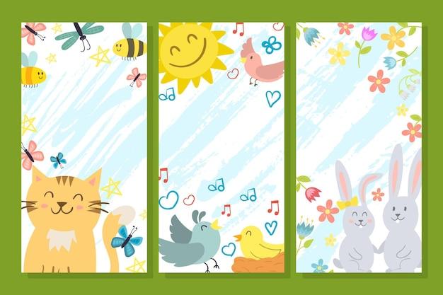 春のかわいいカードセット、ベクトルイラスト。動物のポスターチラシコレクション、子供のための幸せなバナー。招待はがきのグラフィックデザインのコンセプトで猫、太陽、鳥、ウサギを笑顔。