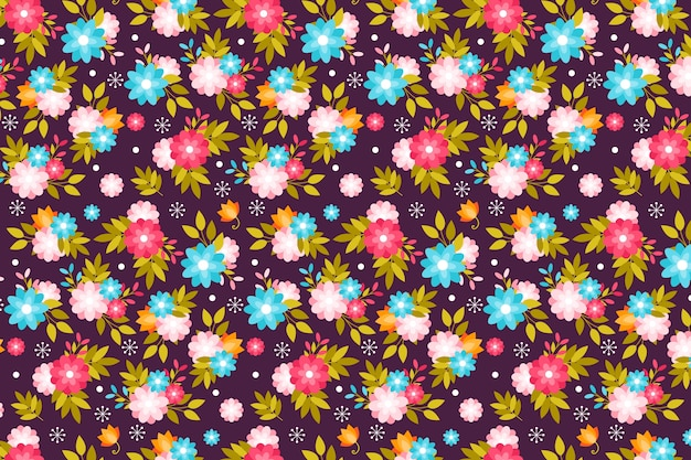 Spring cute flowers ditsy print background
