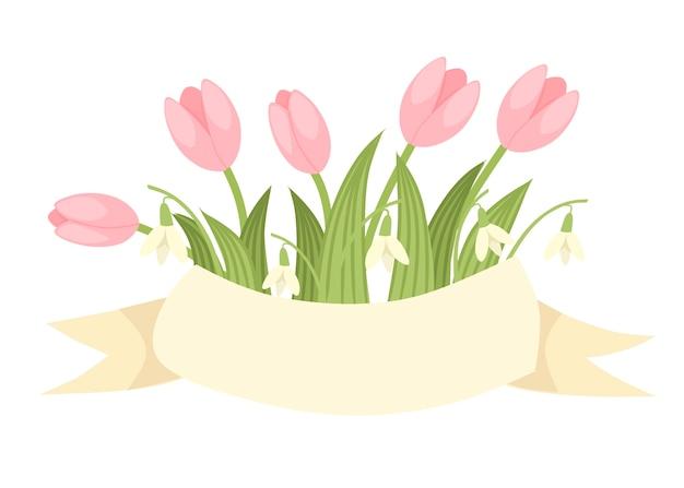 ピンクのチューリップとベージュのリボンとガランタスの春の装飾的な花束