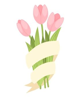 ベージュのリボンとピンクのチューリップの春の装飾的な花束