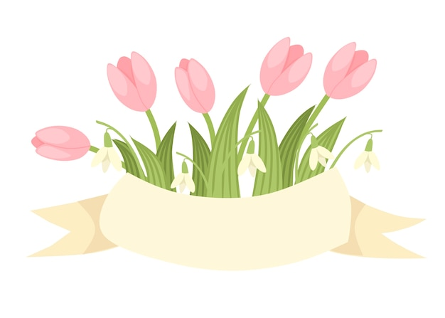 Spring decorative bouquet of pink tulip and galantus with beige ribbon