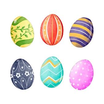 Spring design on easter eggs isolated on white background set