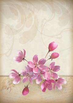 분홍색 꽃의 아름다운 꽃다발로 봄 디자인