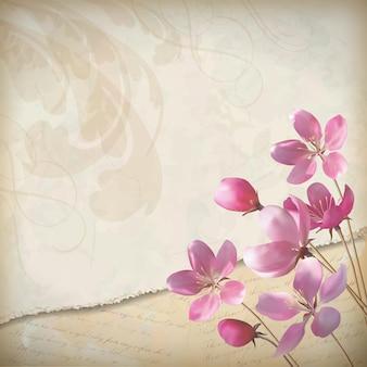 우아한 분홍색 꽃이 피는 봄 디자인