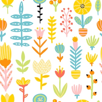 Spring doodle seamless patern with cute cartoon flowers in a colorful palette. childish illustration in hand-drawn scandinavian style. ideal for textiles, clothing, packaging