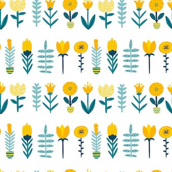 Spring doodle seamless patern with cute cartoon flowers in a colorful palette. childish illustration in hand-drawn scandinavian style.