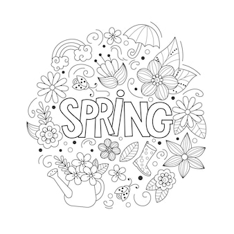 Spring doodles set in cartoon style line art detailed composition