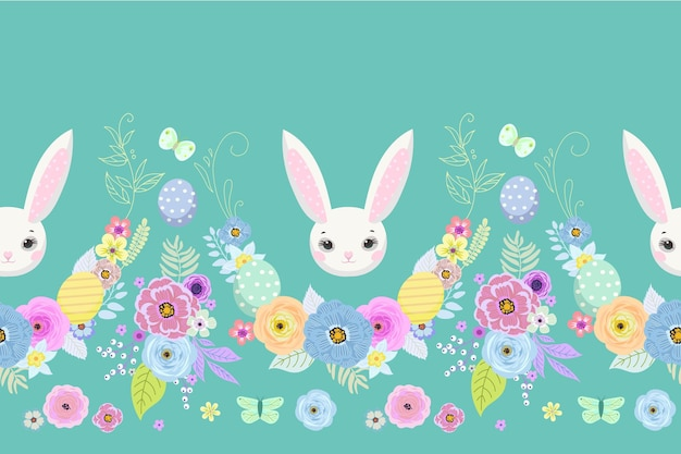 Весенний пасхальный фон с милыми кроликами, яйцами и цветами для дизайна обоев и ткани. векторная иллюстрация