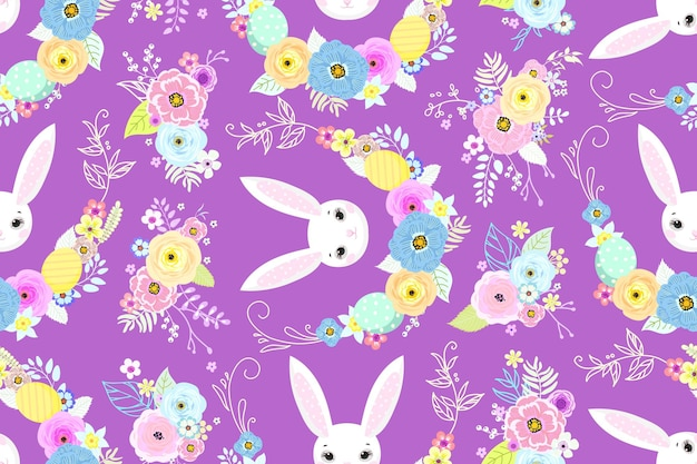 壁紙やファブリックのデザインのためのかわいいウサギ、卵、花と春のイースターの背景。ベクトルイラスト