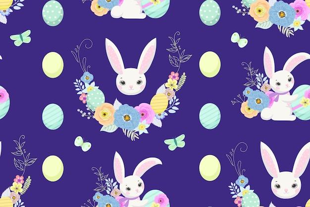 벽지와 패브릭 디자인을 위한 귀여운 토끼, 계란, 꽃이 있는 봄 부활절 배경. 벡터 일러스트 레이 션