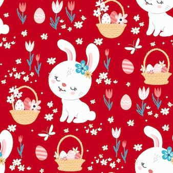 벽지 및 패브릭 디자인을 위한 귀여운 토끼가 있는 봄 부활절 배경. 벡터