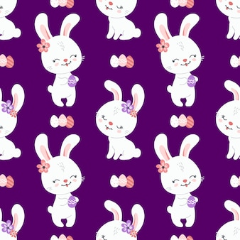 Spring easter background with cute bunnies for wallpaper and fabric design. vector