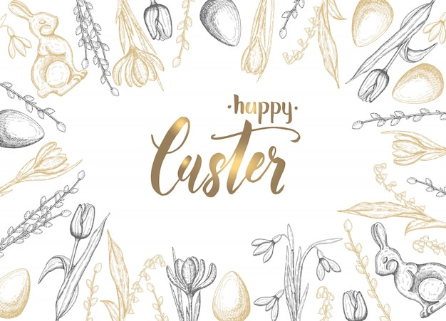 手で春のイースターカードには、黄金の黒イースターエッグ、チョコレートバニー、ユリの谷、チューリップ、スノードロップ、クロッカス、柳が描かれています。手作りレタリングハッピーイースター
