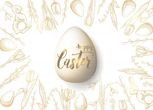 手で春のイースターカードには、黄金のイースターエッグ、チョコレートバニー、ユリの谷、チューリップ、スノードロップ、クロッカス、柳が描かれています。リアルな卵。手作りレタリングハッピーイースター