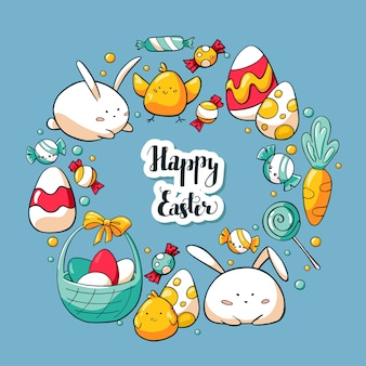 Spring easter greeting card set in cartoon style
