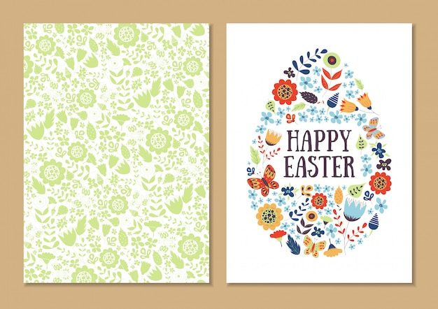 Spring easter holiday card set